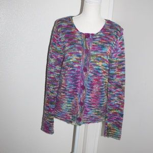 Talbots Sweater size M Knit Style Colorful Rainbow